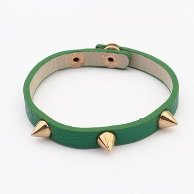 Green Rivet Decorated Punk Style Alloy Korean Fashion Bracelet