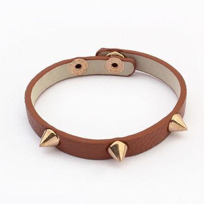 Scottish Coffee Rivet Decorated Punk Style Alloy Korean Fashion Bracelet