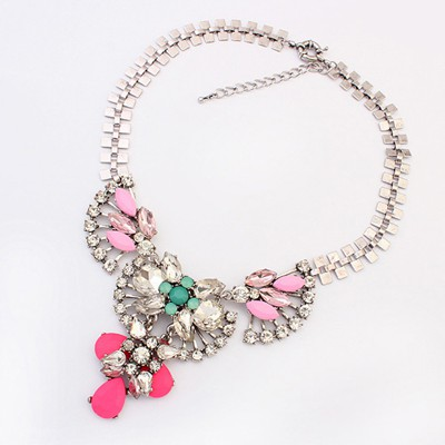 Vintage Plum Red Retro Exaggerated Personality Design Alloy Bib Necklaces