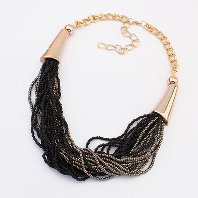 Afrocentri Black&Gray Two Colors Beads Multilayer Design Alloy Bib Necklaces