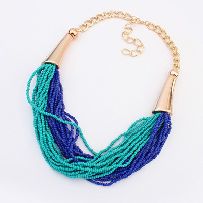 Magic Sapphire&Light Blue Two Colors Beads Multilayer Design Alloy Bib Necklaces