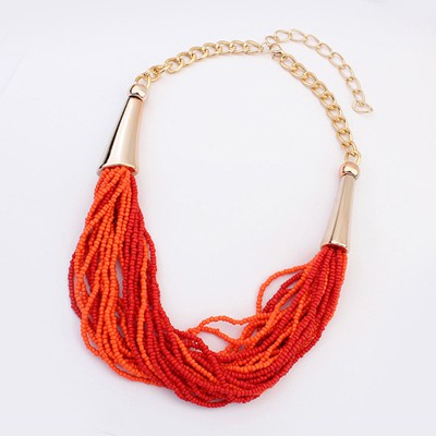 24K Red&Orange Two Colors Beads Multilayer Design Alloy Beaded Necklaces