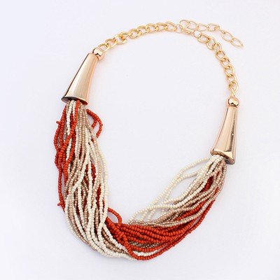 Slacks Coffee&Beige Two Colors Beads Multilayer Design Alloy Beaded Necklaces