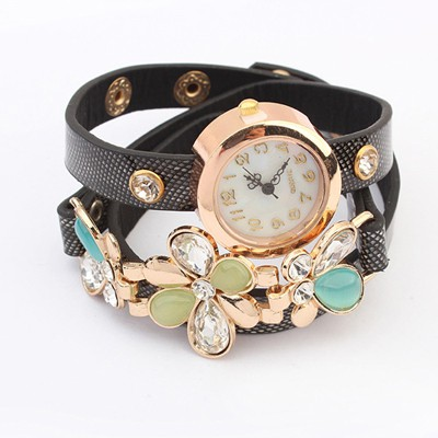 Hot Black Gemstone Flower Decorated Multilayer Bracelet Style Alloy Ladies Watches