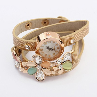 Noble Beige Gemstone Flower Decorated Multilayer Bracelet Style Alloy Ladies Watches