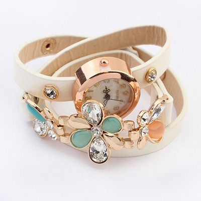 Juniors White Gemstone Flower Decorated Multilayer Bracelet Style Alloy Ladies Watches
