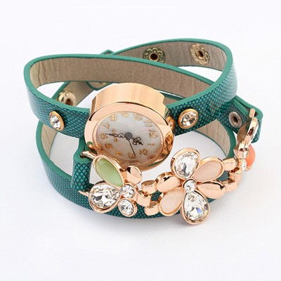 Chiropract Peacock Blue Gemstone Flower Decorated Multilayer Bracelet Style Alloy Ladies Watches