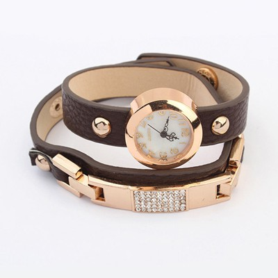 Sheer Coffee Diamond Decorated Exquisite Bracelet Style Alloy Ladies Watches