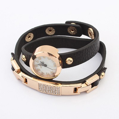 Goth Black Diamond Decorated Exquisite Bracelet Style Alloy Ladies Watches
