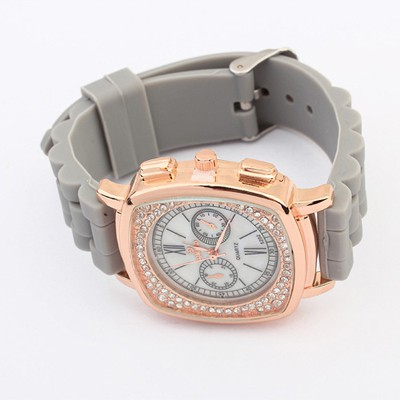 Initial Gray Exquisite Diamond Surrounded Square Shape Design Silicone Ladies Watches