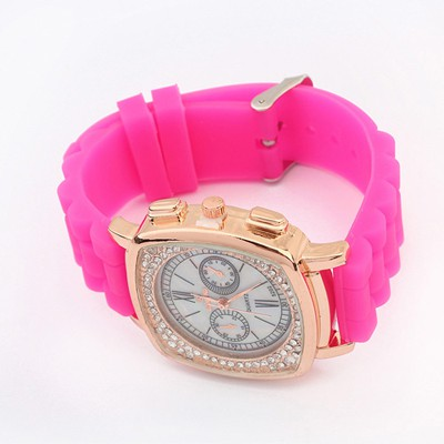 Colorful Plum Red Exquisite Diamond Surrounded Square Shape Design Silicone Fashion Watches