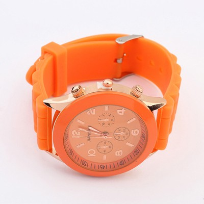 Portable Orange Candy Color Simple Design Silicone Fashion Watches