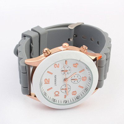 Business Gray Candy Color Simple Design Silicone Ladies Watches