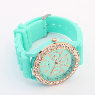 Medieval Blue Diamond Decorated Jelly Color Casual Design Silicone Fashion Watches