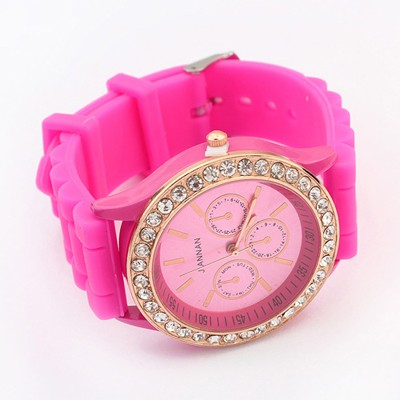 Vellum Plum Red Diamond Decorated Jelly Color Casual Design Silicone Fashion Watches