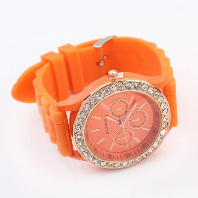 Winding Orange Diamond Decorated Jelly Color Casual Design Silicone Fashion Watches