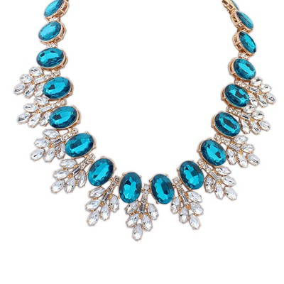 Fashion Sapphire Oval Gemstone Decorated Leaf Temperament Alloy Bib Necklaces