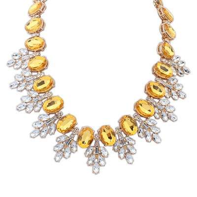 Real Yellow Oval Gemstone Decorated Leaf Temperament Alloy Bib Necklaces