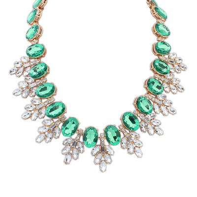 Chic Green Oval Gemstone Decorated Leaf Temperament Alloy Bib Necklaces