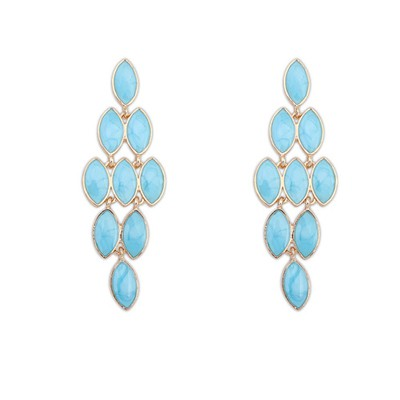 Beauteous Light Blue Bohemia Style Gemstone Tassel Design Alloy Korean Earrings