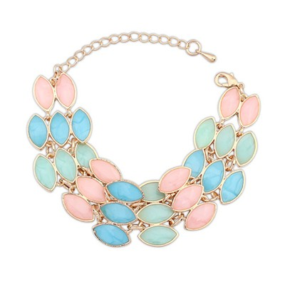 Unique Multicolor Three Rows Gemstone Decorated Alloy Korean Fashion Bracelet