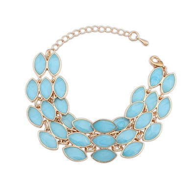 Memorial Light Blue Three Rows Gemstone Decorated Alloy Korean Fashion Bracelet