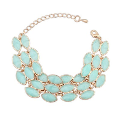 Latest Light Green Three Rows Gemstone Decorated Alloy Korean Fashion Bracelet