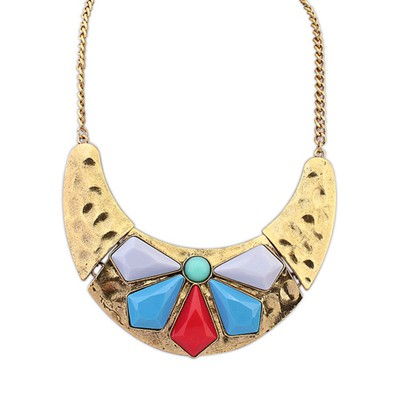Inexpensiv Multicolor Inlaid Geometric Gemstone Punk Style Alloy Bib Necklaces