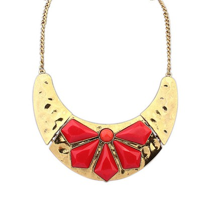 Packaging Red Inlaid Geometric Gemstone Punk Style Alloy Bib Necklaces
