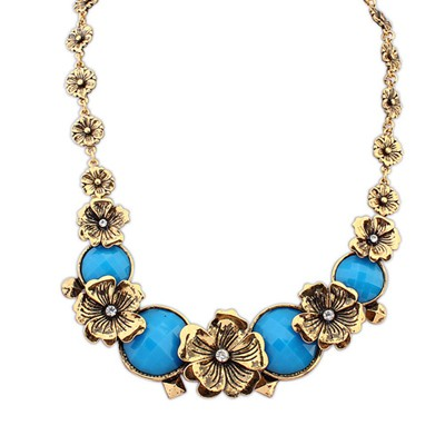 Define Blue Vintage Metal Flower Decorated Alloy Bib Necklaces