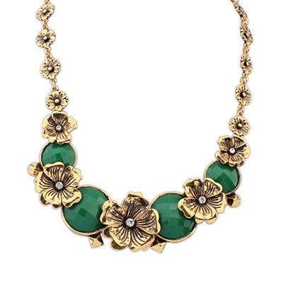 Expired Green Vintage Metal Flower Decorated Alloy Bib Necklaces