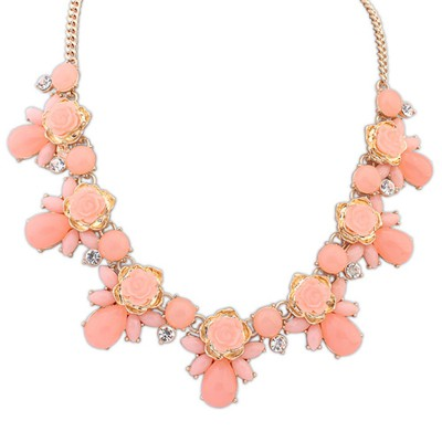 Eatable Pink Sweet Rose Gemstone Decorated Alloy Bib Necklaces