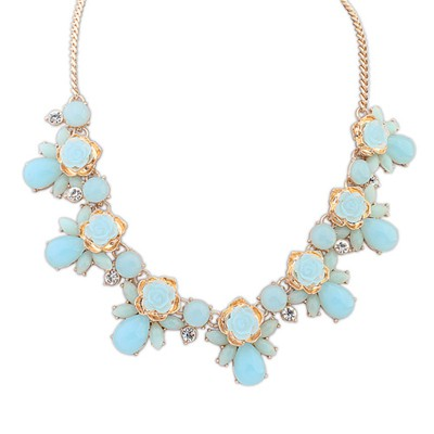 Best Light Blue Sweet Rose Gemstone Decorated Alloy Bib Necklaces
