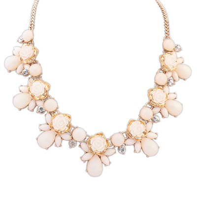 Connor Beige Sweet Rose Gemstone Decorated Alloy Bib Necklaces