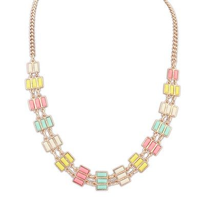 Imitation Multicolor Rectangle Gemstone Decorated Alloy Bib Necklaces