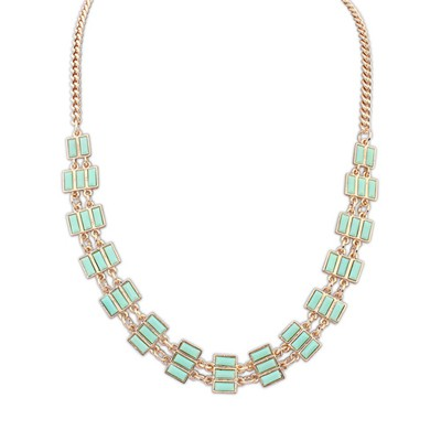 Christmas Light Green Rectangle Gemstone Decorated Alloy Bib Necklaces