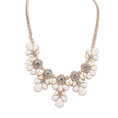 Maternity Beige Sweet Gemstone Flower Decorated Alloy Bib Necklaces