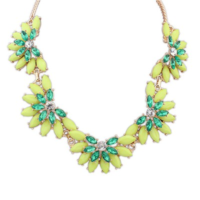 Misses Green Five Fan Shape Gemstone Decorated Alloy Bib Necklaces