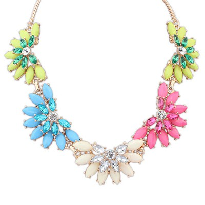 Online Multicolor Five Fan Shape Gemstone Decorated Alloy Bib Necklaces