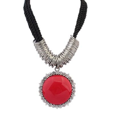 Electronic Red Vintage Round Gemstone Pendant Alloy Bib Necklaces