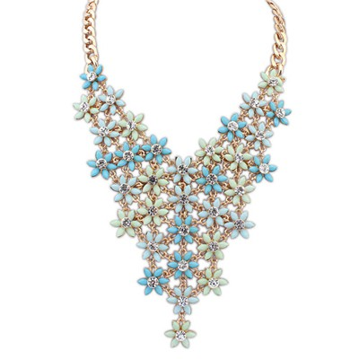 Mink Light Blue&Light Green Multilayer Flower V Shape Pendant Alloy Bib Necklaces