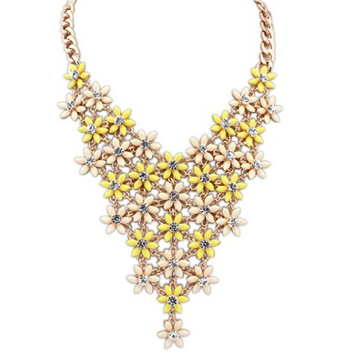Arrowhead Yellow&Beige Multilayer Flower V Shape Pendant Alloy Bib Necklaces