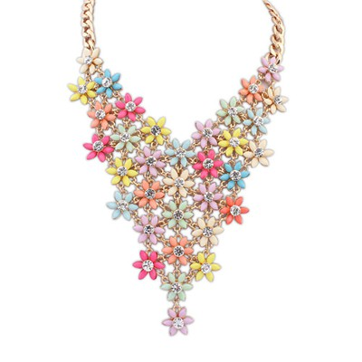 Fair Multicolor Multilayer Flower V Shape Pendant Alloy Bib Necklaces