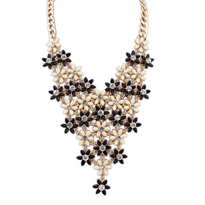 Hydraulic Balck&Beige Multilayer Flower V Shape Pendant Alloy Bib Necklaces