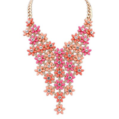 Digital Plum Red&Orange Multilayer Flower V Shape Pendant Alloy Bib Necklaces