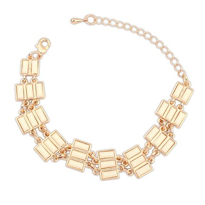 Aamazing Beige Rectangle Gemstone Decorated Alloy Korean Fashion Bracelet