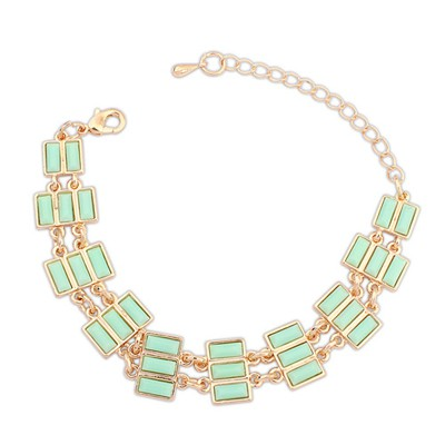Greek Light Green Rectangle Gemstone Decorated Alloy Korean Fashion Bracelet