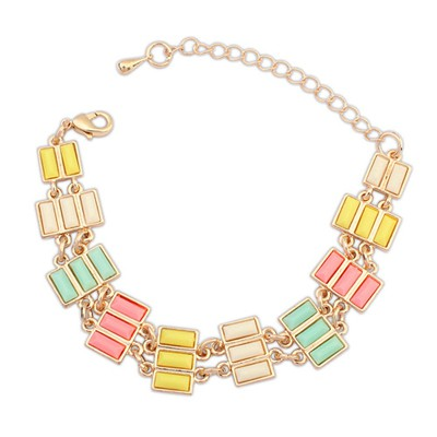 Rosary Multicolor Rectangle Gemstone Decorated Alloy Korean Fashion Bracelet