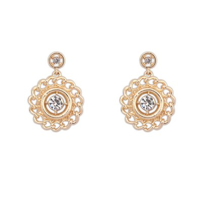 Diaper Gold Color Hollow Out Round Metal Design Alloy Korean Earrings