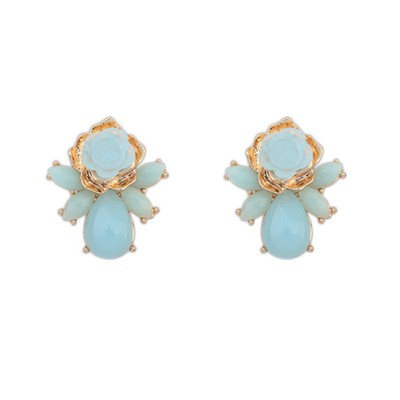 Boutique Light Blue Sweet Rose Flower Decorated Alloy Stud Earrings